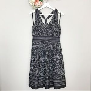 Nine West Abstract Halter print dress black white